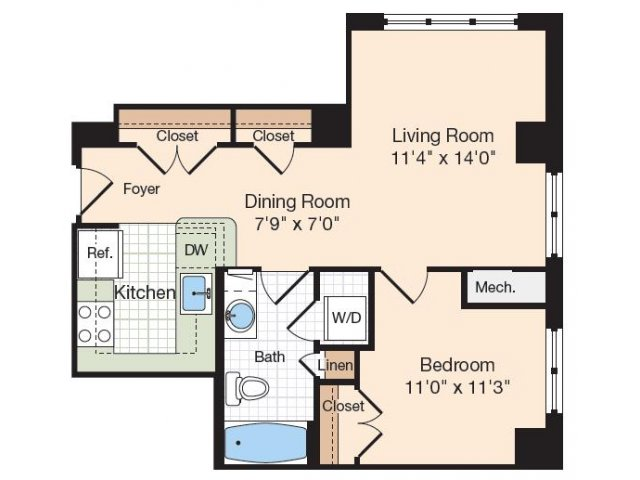 Floor Plan 39 | Old Town Alexandria Apartments | Meridian at Eisenhower Station