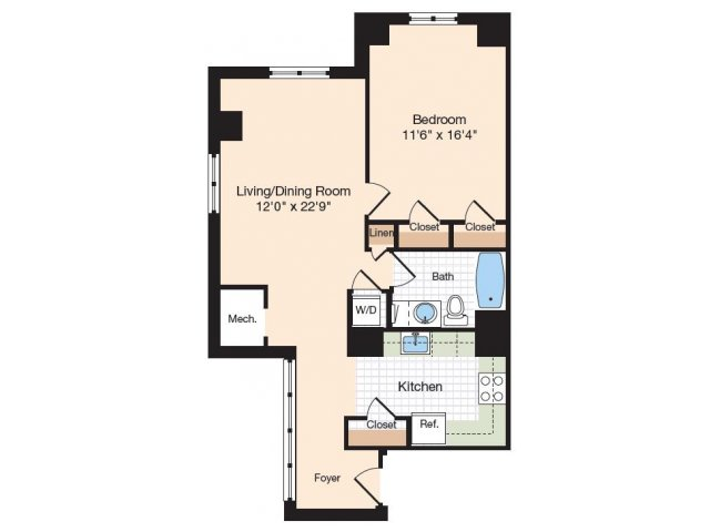 Floor Plan 42 | Old Town Alexandria Apartments | Meridian at Eisenhower Station