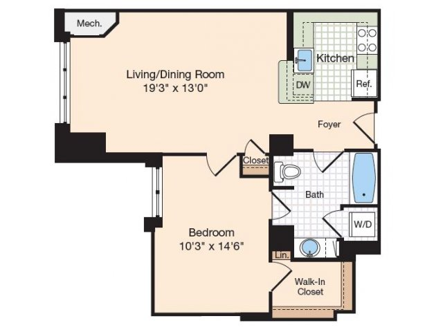 Floor Plan 37 | Old Town Alexandria Apartments | Meridian at Eisenhower Station