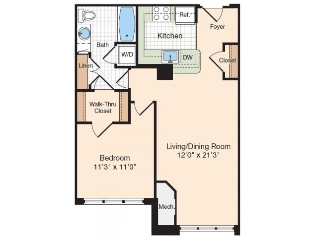 Floor Plan 43 | Old Town Alexandria Apartments | Meridian at Eisenhower Station