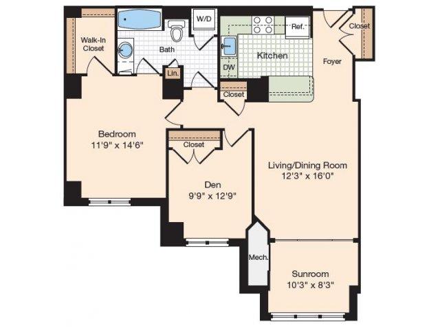 Floor Plan 3   Apartments In Alexandria Virginia   Meridian at Eisenhower Station