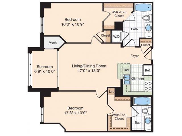 Floor Plan 23 | Old Town Alexandria Apartments | Meridian at Eisenhower Station