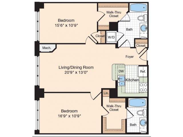 Floor Plan 22 | Old Town Alexandria Apartments | Meridian at Eisenhower Station