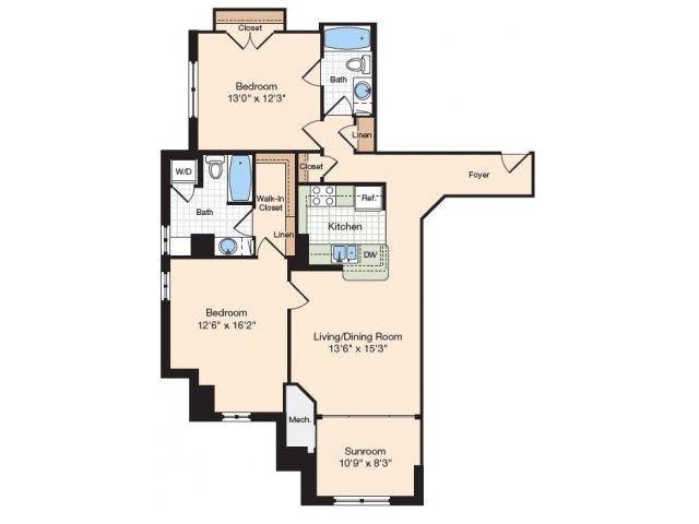 Floor Plan 15 | Old Town Alexandria Apartments | Meridian at Eisenhower Station