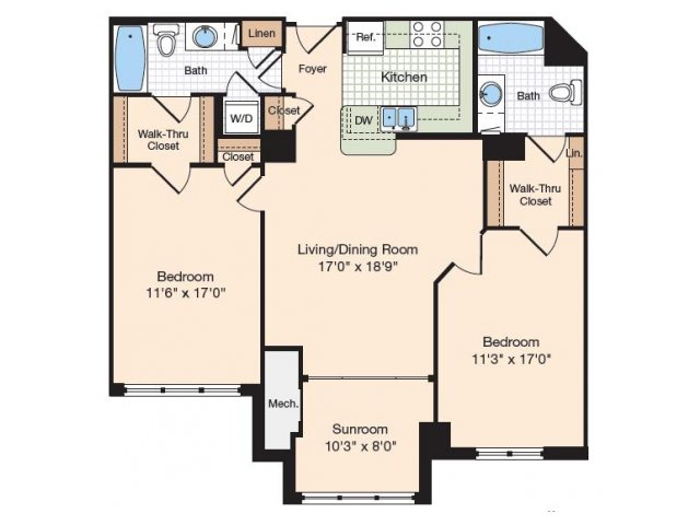 Floor Plan 11 | Old Town Alexandria Apartments | Meridian at Eisenhower Station