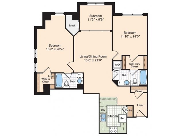 Floor Plan 16 | Old Town Alexandria Apartments | Meridian at Eisenhower Station
