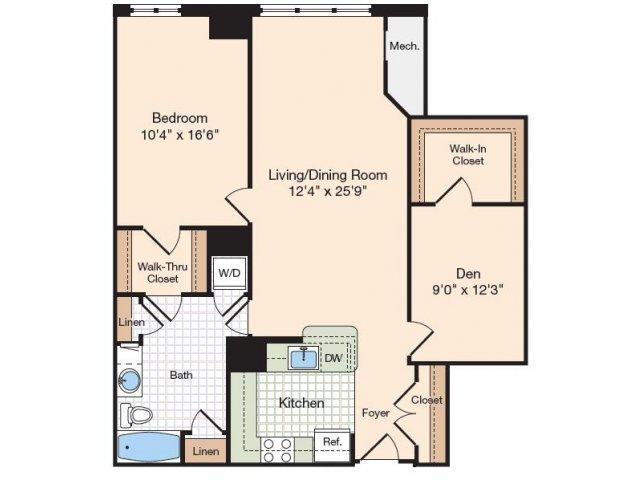 Floor Plan 6   Alexandria VA Luxury Apartments   Meridian at Eisenhower Station