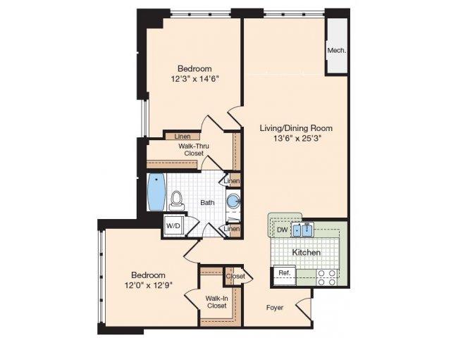Floor Plan 25 | Old Town Alexandria Apartments | Meridian at Eisenhower Station