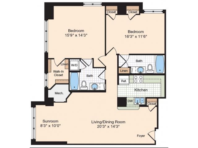 Floor Plan 19 | Old Town Alexandria Apartments | Meridian at Eisenhower Station