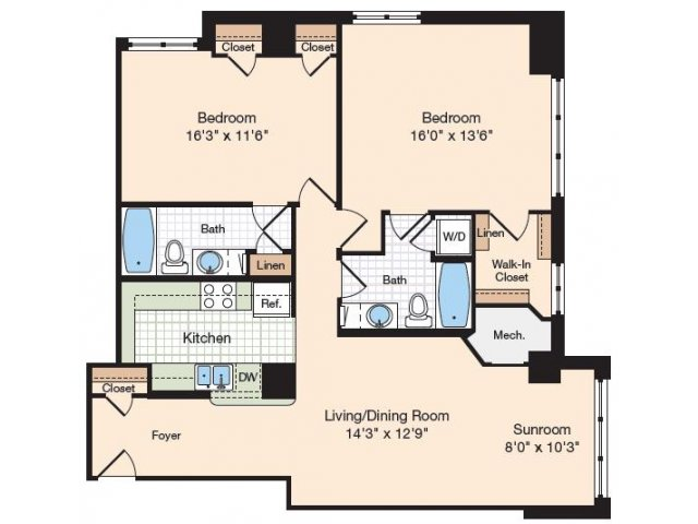 Floor Plan 21 | Old Town Alexandria Apartments | Meridian at Eisenhower Station