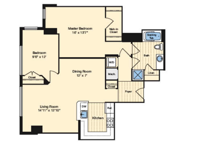 2 Bedroom Floor Plan | Alexandria VA Luxury Apartments | Carlyle Place
