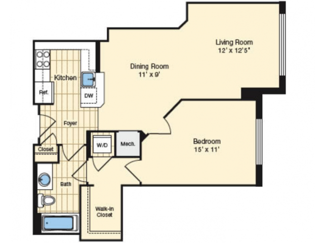 1 Bdrm Floor Plan 1 | Luxury Apartments Alexandria VA | Carlyle Place
