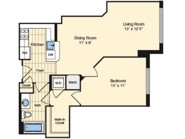 1 Bdrm Floor Plan 1 | Luxury Apartments Alexandria VA | Carlyle Place