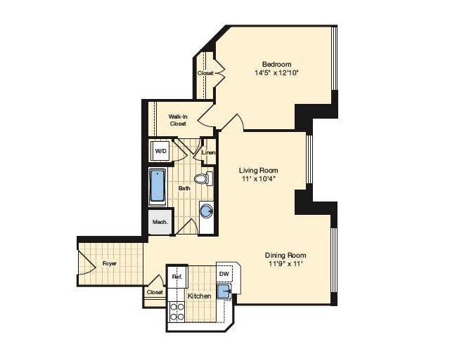 1 Bdrm Floor Plan | Luxury Apartments Alexandria VA | Carlyle Place