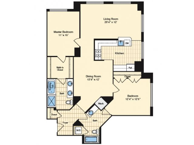 2 Bdrm Floor Plan | Apartments In Alexandria VA 6 | Carlyle Place