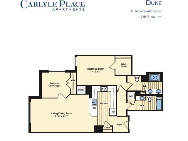 2 Bedroom Floor Plan 1 | Alexandria VA Luxury Apartments | Carlyle Place