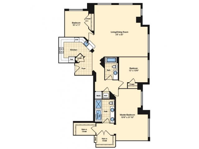 3 Bdrm Floor Plan | Apartments Alexandria VA | Carlyle Place