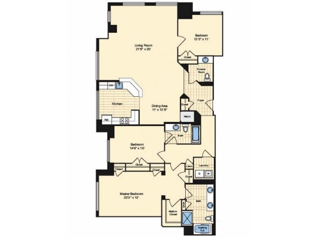 3 Bedroom Floor Plan 2 | Alexandria Apartments | Carlyle Place
