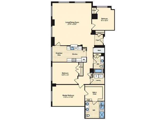 3 Bedroom Floor Plan 1 | Alexandria Apartments | Carlyle Place