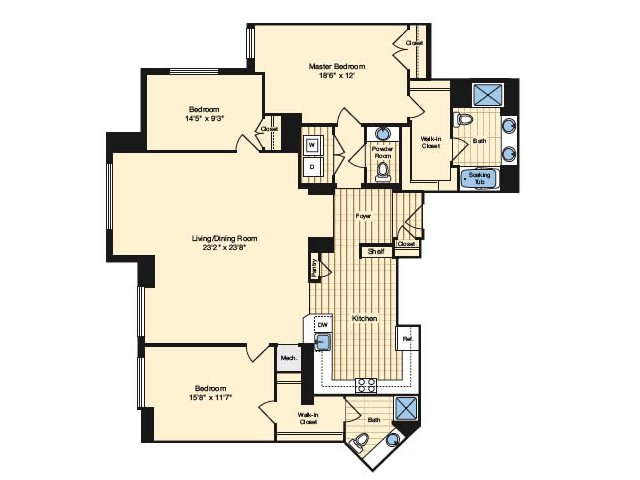3 Bedroom Floor Plan 4 | Alexandria Apartments | Carlyle Place