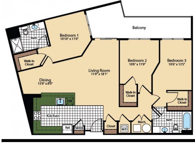 3 Bedroom Floor Plan   The Madison at Ballston Station 3