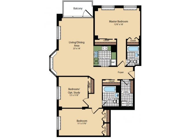 Floor Plan 6 | Apartments For Rent In North Bergen NJ | Half Moon Harbour Apartments