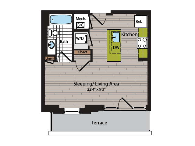Studio Floor Plan | Washington DC Apartment For Rent | 360H Street