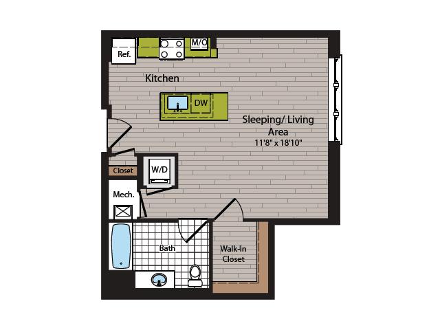 Studio Floor Plan | Washington DC Apartment For Rent | 360H Street 2