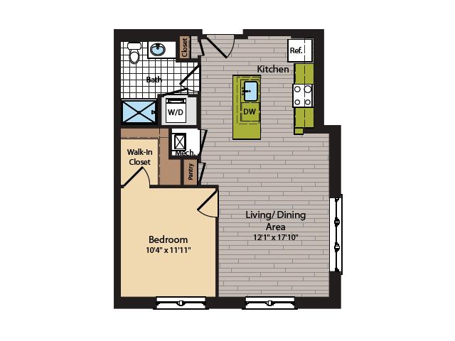 1 Bedroom Floor Plan | Washington DC Apartments | 360H Street