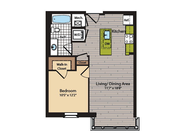 1 Bedroom Floor Plan | Washington DC Apartments | 360H Street 3