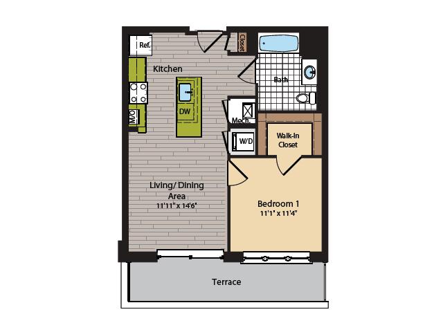 1 Bedroom Floor Plan | Washington DC Apartments | 360H Street 5