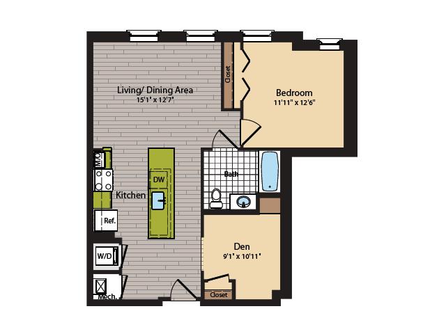 1 Bedroom Floor Plan | Washington DC Apartments | 360H Street 7