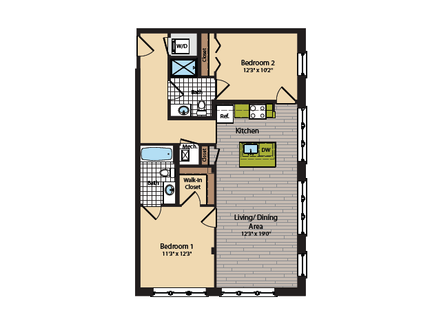 2 Bedroom Floor Plan | Apartments In Washington DC | 360H Street