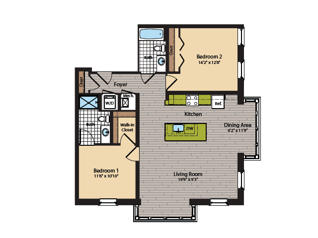 2 Bedroom Floor Plan | Apartments In Washington DC | 360H Street 7
