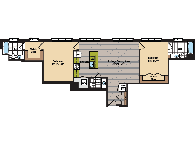 2 Bedroom Floor Plan | Apartments In Washington DC | 360H Street 10