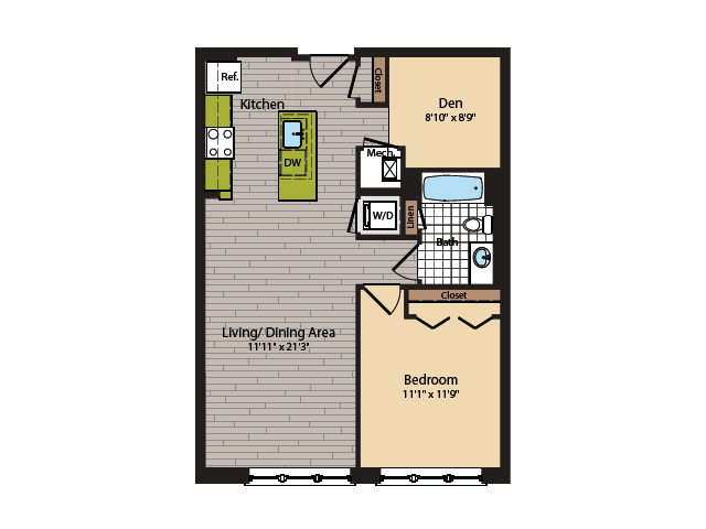 1 Bedroom Floor Plan | Washington DC Apartments | 360H Street 13