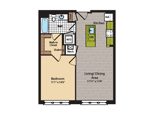 1 Bedroom Floor Plan | Washington DC Apartments | 360H Street 14