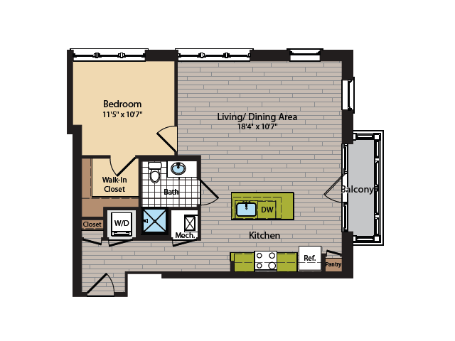 1 Bedroom Floor Plan   Washington DC Apartments   360H Street 15