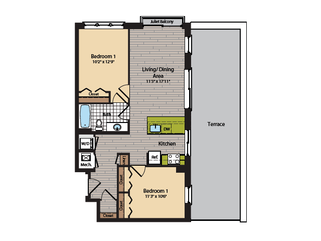 2 Bedroom Floor Plan   Apartments In Washington DC   360H Street 14