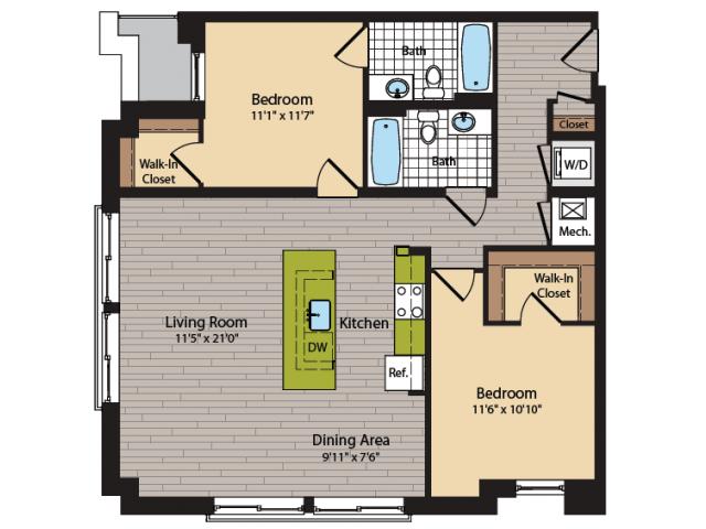 2 Bedroom Floor Plan | Apartments In Washington DC | 360H Street 13