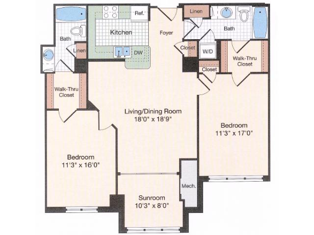 Floor Plan 13 | Old Town Alexandria Apartments | Meridian at Eisenhower Station