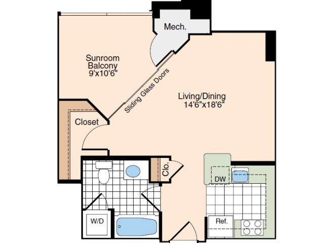Studio Floor Plan | Alexandria Virginia Apartments | Meridian at Carlyle