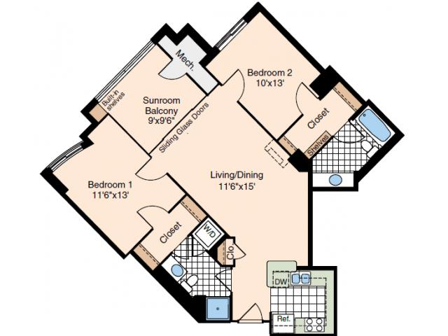 2 Bedroom Floor Plan | Alexandria VA Luxury Apartments | Meridian at Carlyle