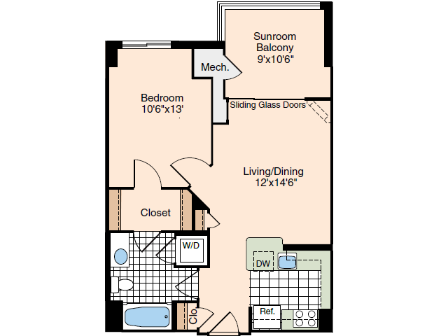 1 Bedroom Floor Plan 1 | Luxury Apartments In Alexandria VA | Meridian at Carlyle