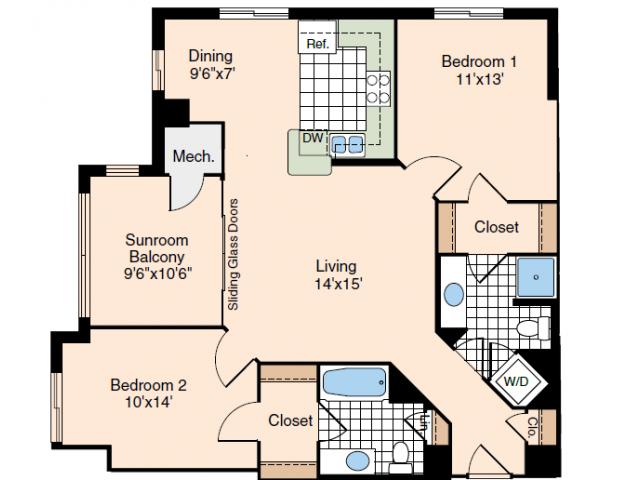 2 Bdrm Floor Plan | Luxury Apartments Old Town Alexandria VA | Meridian at Carlyle
