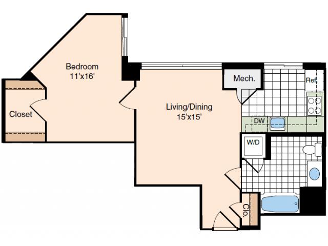 1 Bdrm Floor Plan | Studio Apartments In Alexandria VA | Meridian at Carlyle
