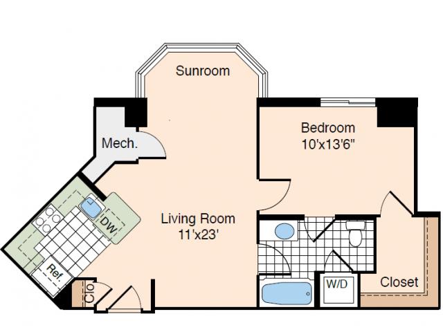 1 Bdrm Floor Plan 2 | Studio Apartments In Alexandria VA | Meridian at Carlyle