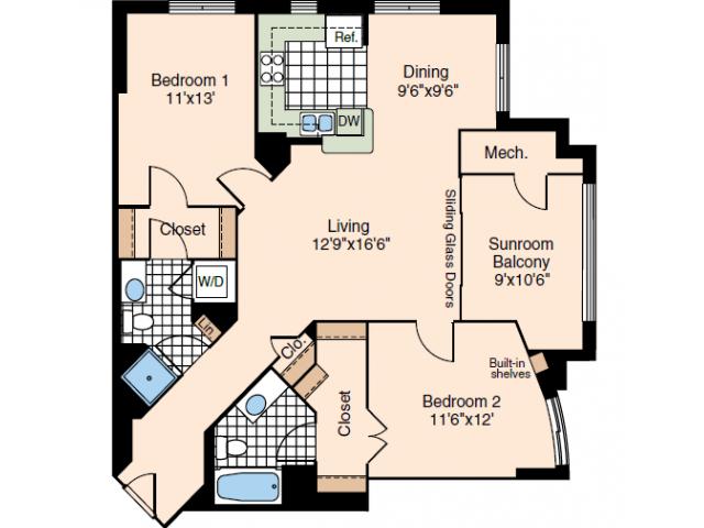 2 Bedroom Floor Plan 1 | Alexandria VA Luxury Apartments | Meridian at Carlyle