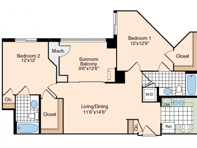 2 Bdrm Floor Plan 2 | Luxury Apartments Old Town Alexandria VA | Meridian at Carlyle