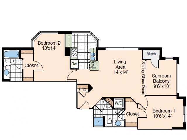 2 Bdrm Floor Plan 1 | Luxury Apartments Old Town Alexandria VA | Meridian at Carlyle